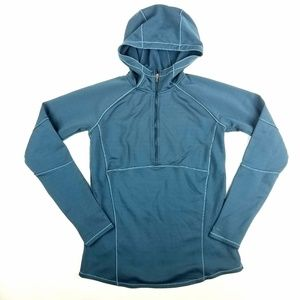 Womens Columbia Dark Teal Hooded HalfZip Pullover